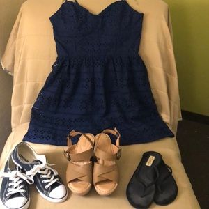 Trixxi navy blue spaghetti strap dress
